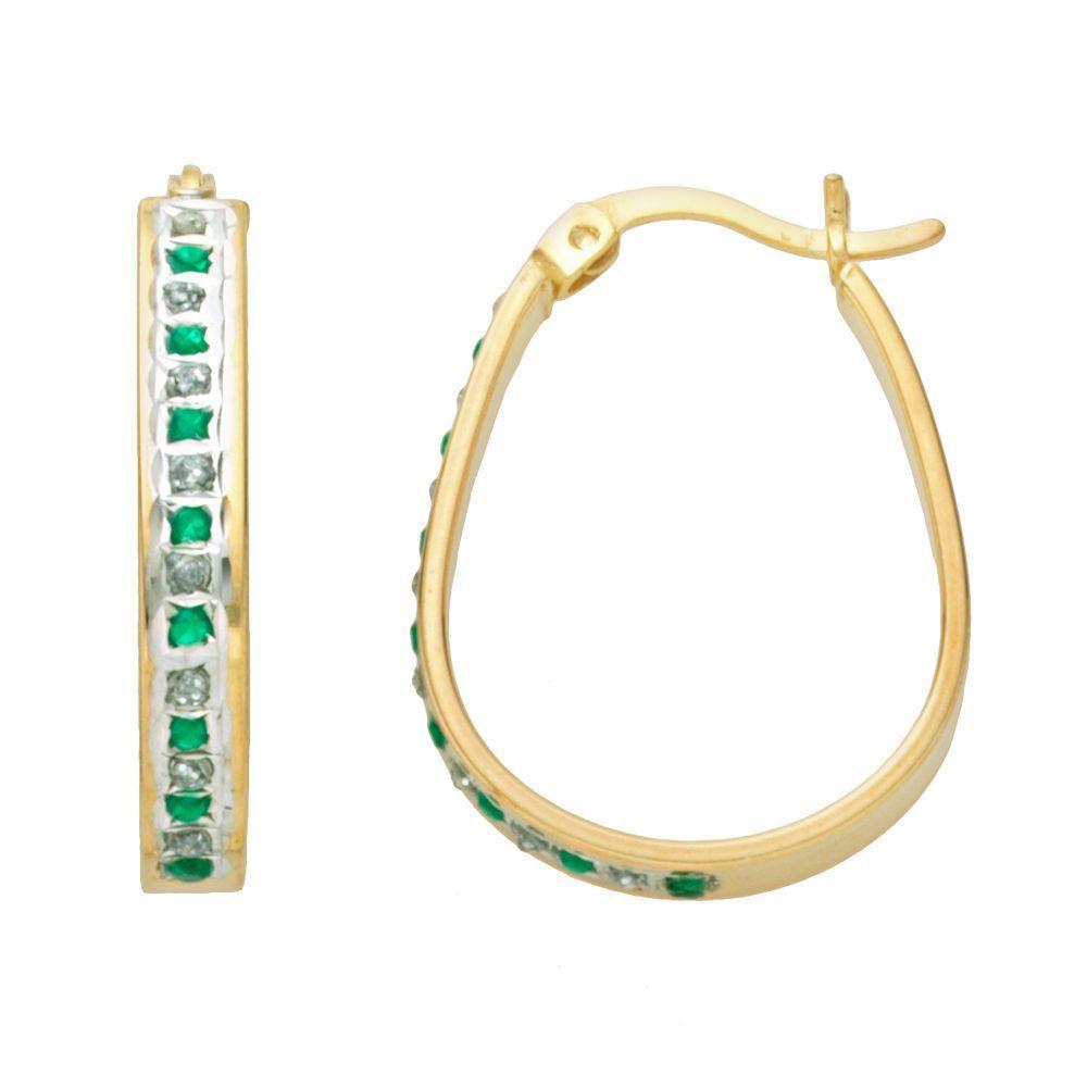 8410119329e6b 18k Gold-Over-Silver Emerald & Diamond Accent Pear Hoop Earrings ...