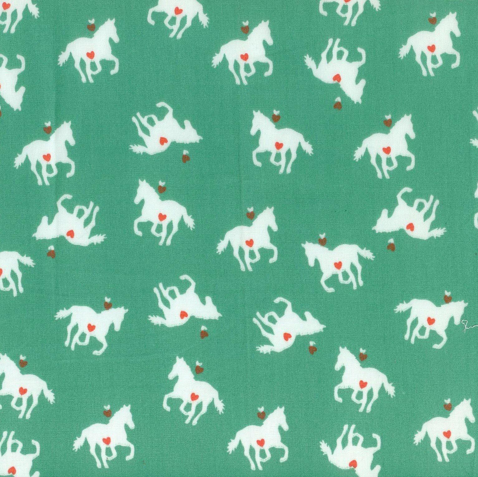 Popeline Green Horses