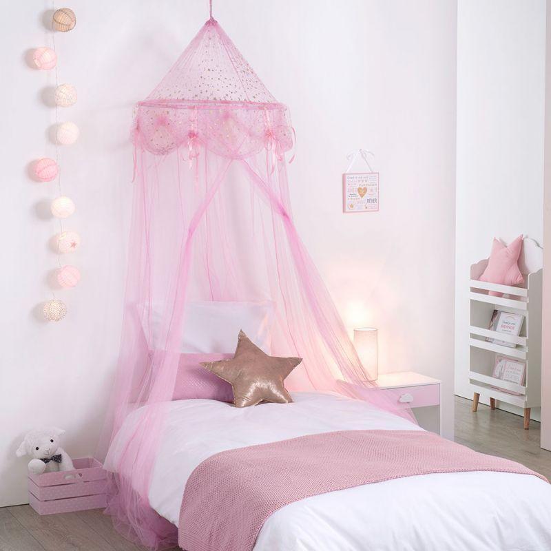 Ciel De Lit Moustiquaire Rose Fille Princesse A Suspendre 60x250cm