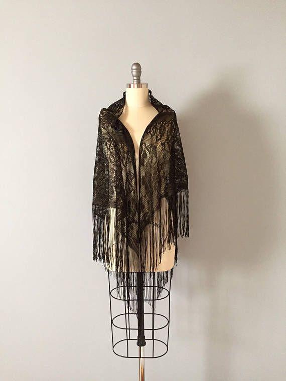 BLACK FRINGE piano shawl gold and black net floral shawl
