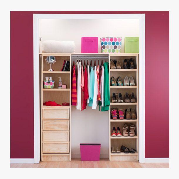 Paquete de cl set de pino cajonera correderas y pino for Ver closet de madera para cuartos
