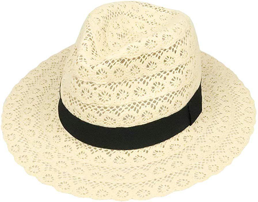 5f3a573e99ea2d FM Women Straw Panama Roll up Hat Fedora Beach Sun Hat Beige ...