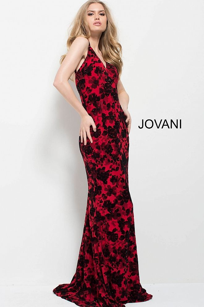 de3a1e2dd0c Red Black Floral Print Plunging Neckline Fitted Dress  54985  JOVANI   Fall2017  fashion