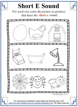 Short E Worksheets and Activities - Color the pictures that use the ...