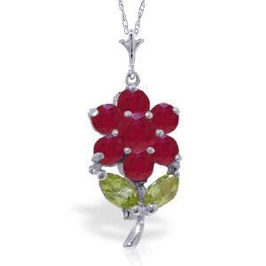 14K Solid White Gold Portrait Of A Flower Ruby Peridot Necklace - 4821-W