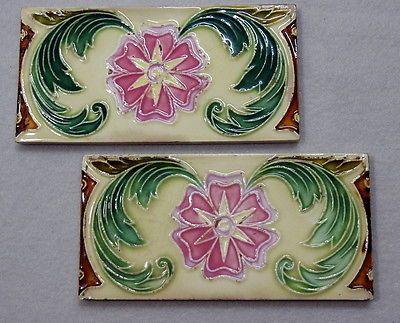 2 Stück orig. JUGENDSTIL / ART NOUVEAU Fliesen / Kacheln / Bordüre -um 1900-