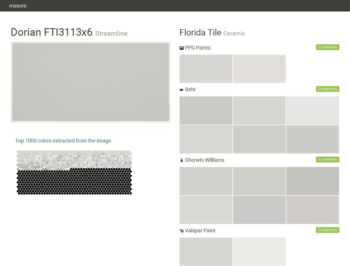 Dorian Fti3113x6 Streamline Ceramic Florida Tile Ppg Paints Behr Sherwin Williams Valspar Paint Click The Gray Visit Tiles Valspar Paint Paint Matching