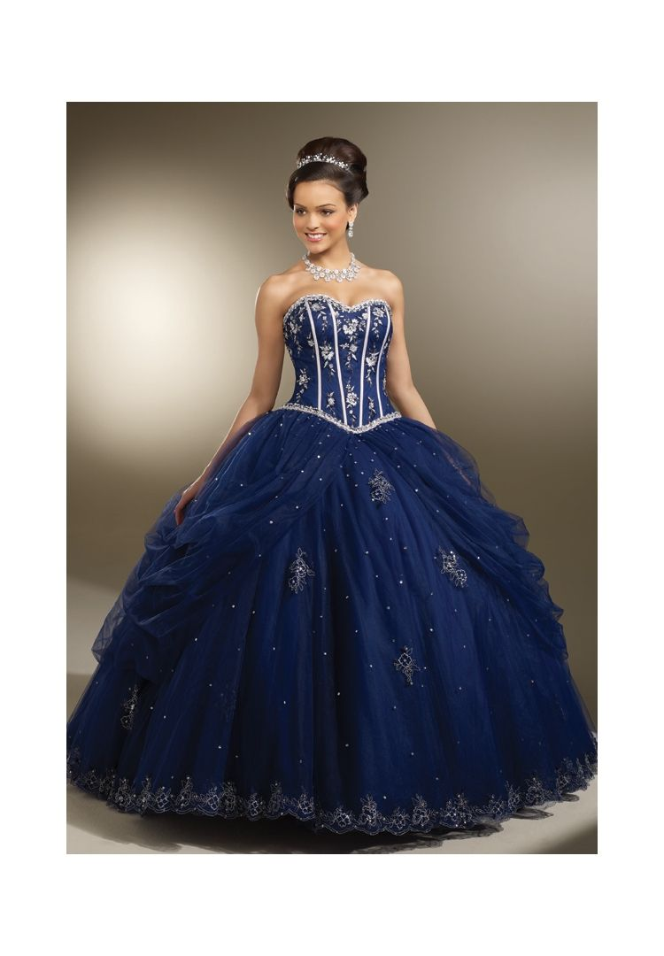 c99a4dd9a Quinceanera dresses by Vizcaya 87093 Satin and Tulle with Embroidery and  Beading. Colors  Navy Silver