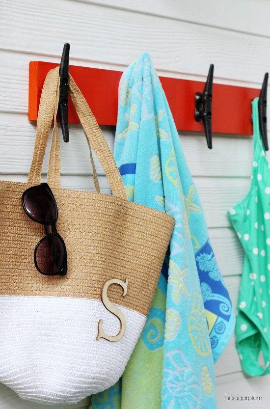Backyard Diy Nautical Towel Rack Pottery Barn Style