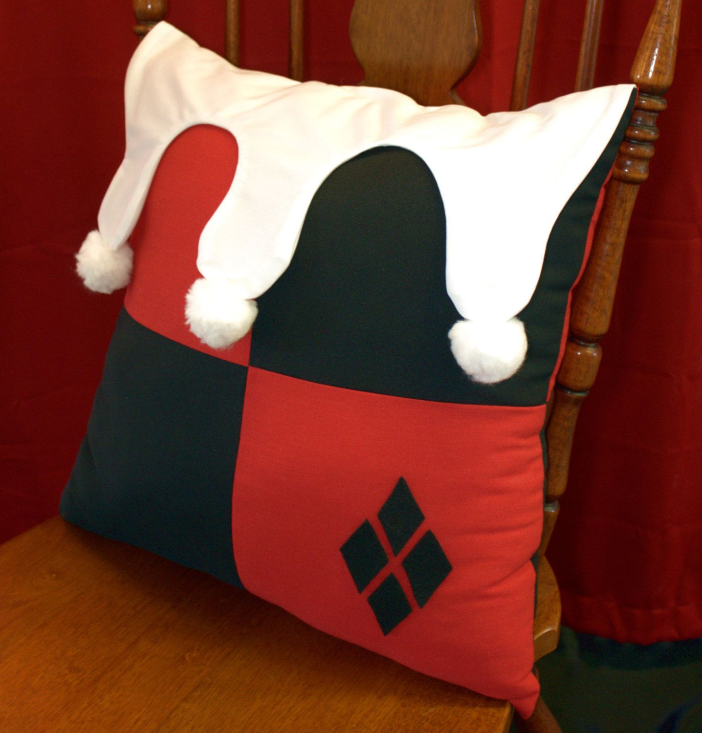 Classic harley quinn pillow that harley can put on her bed for Harley quinn bedroom designs