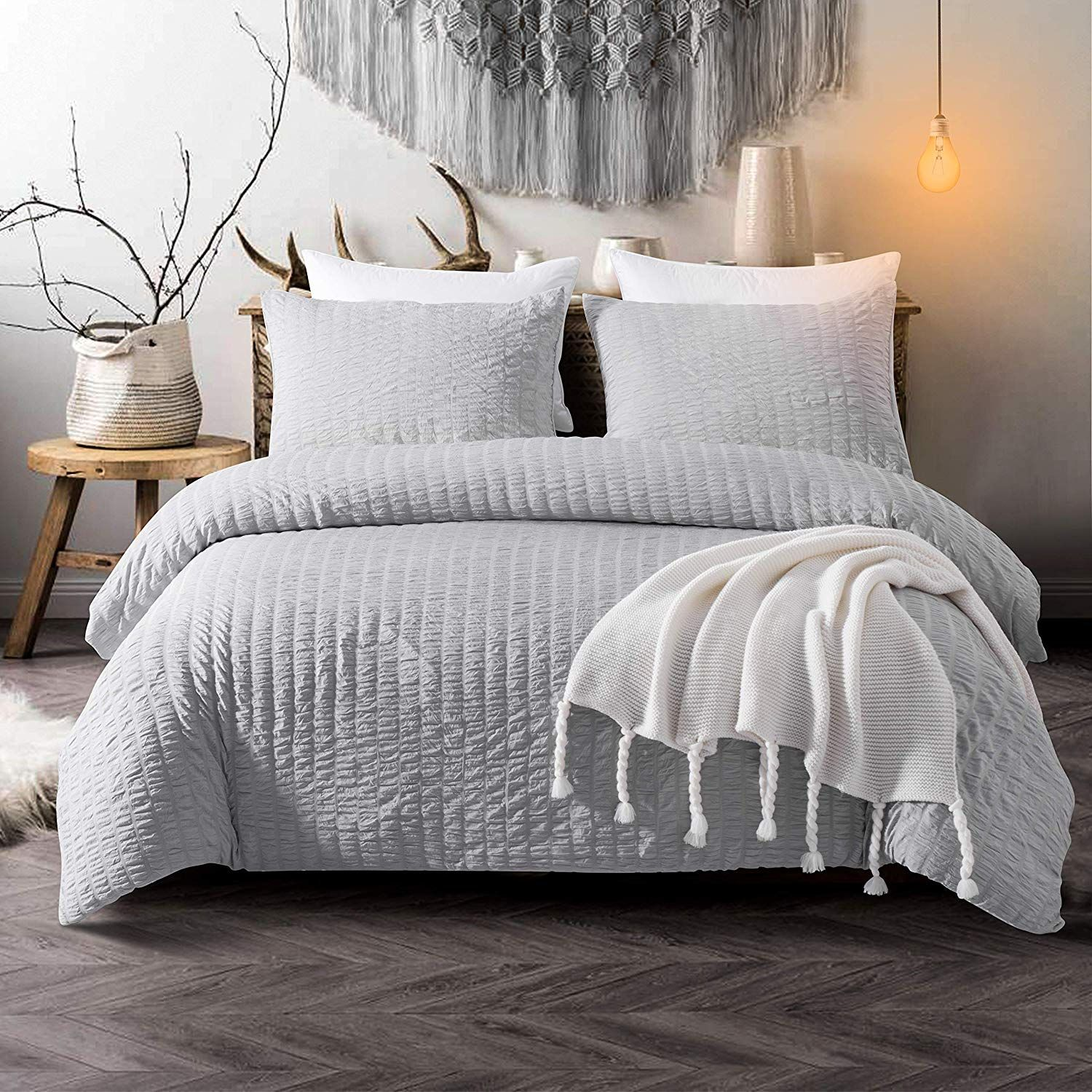 modern master bedroom with threshold seersucker duvet cover set | Cozyholy Seersucker Duvet Cover Set 3-Piece Nature Style ...