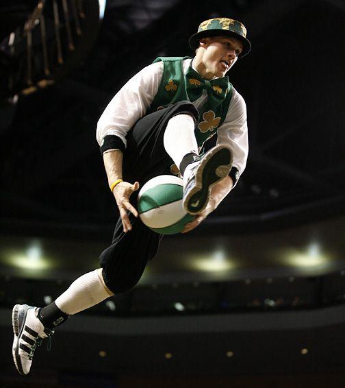 Blazers Mascot: Boston Celtics Mascot Lucky The Leprechaun.