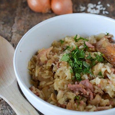 Risotto de poulet, lardons et champignons | Recette | Risotto poulet, Recette reste poulet et ...