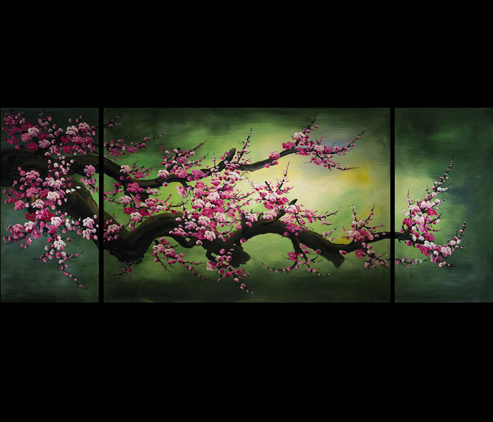 Feng shui painting wall art decor chinese cherry blossom for Canvas painting of cherry blossoms