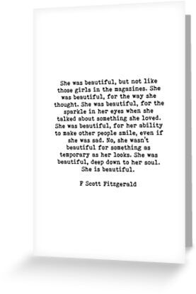 She Was Beautiful, F Scott Fitzgerald, Quote Greeting Card & Postcard by PrettyLovely