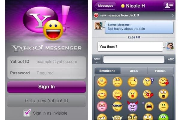 Yahoo messenger for iOS in 2020 Messages