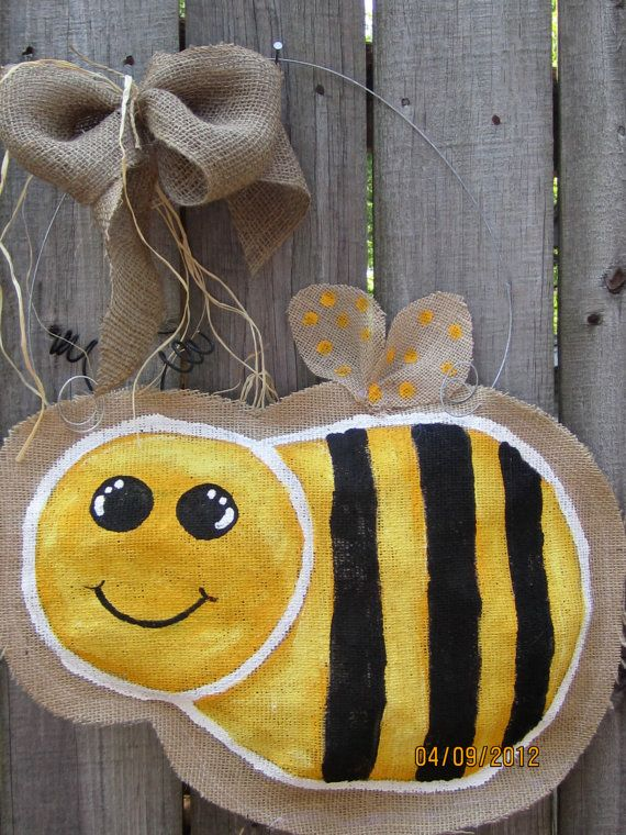 Burlap Door Hanger  Bumble Bee by nursejeanneg on Etsy, $28.00 - I could do this, right?