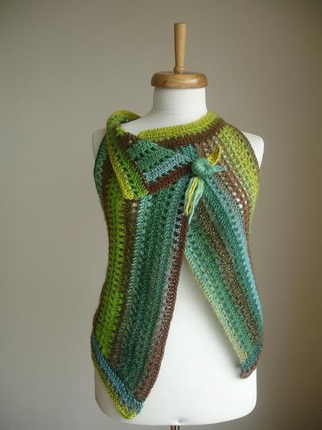 Photo of Green TWo in One Vest, Fall and Winter Collection, Pure Wool Asymmetric Vest, Green and Multicolour, Luxurious, Lux