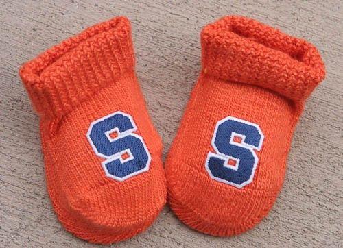 Miami University Newborn Baby Striped Bootie Sock