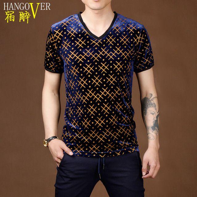 2015 patrón moda de verano camisetas hombres oro azul ropa de terciopelo geométricos gráficos para hombre corto manga camiseta delgada
