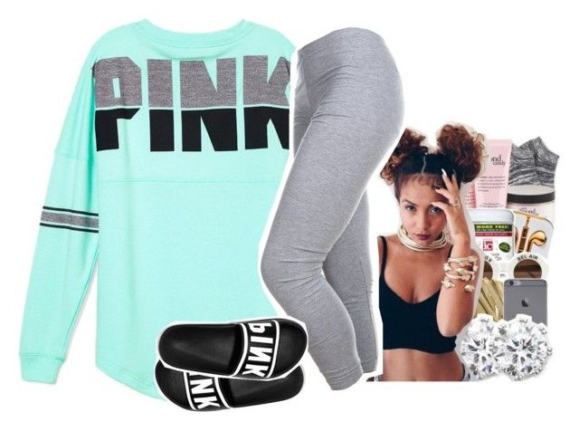 """""""Chillin After HomeWork xoxo"""" by cheniyaloveemojis on Polyvore featuring Victoria's Secret PINK"""