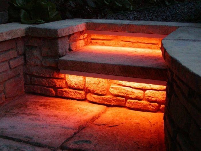 Oswietlenie Ogrodowe Oswietlenie Led Lawka Ogrodowa Czerwona Kamienna Gartenbeleuchtung Beleuchtung Garten Und Gartentreppe