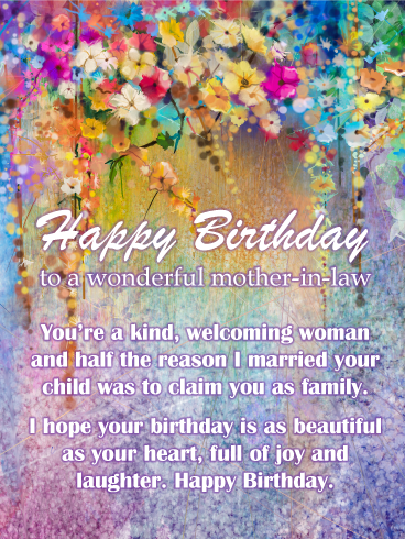 Watercolor Flowers Happy Birthday Card For Mother In Law Birthday Greeting Cards By Davia Birthday Cards For Mother Birthday Wishes For Mother Birthday Greeting Cards