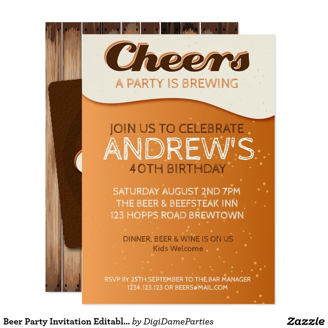 Beer Party Invitation Editable Template   Templates, Zazzle ...
