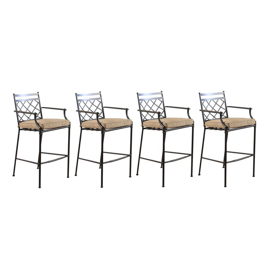Lovely Shop Allen + Roth Set Of 4 Safford Cushioned Aluminum Patio Bar Height  Chairs At