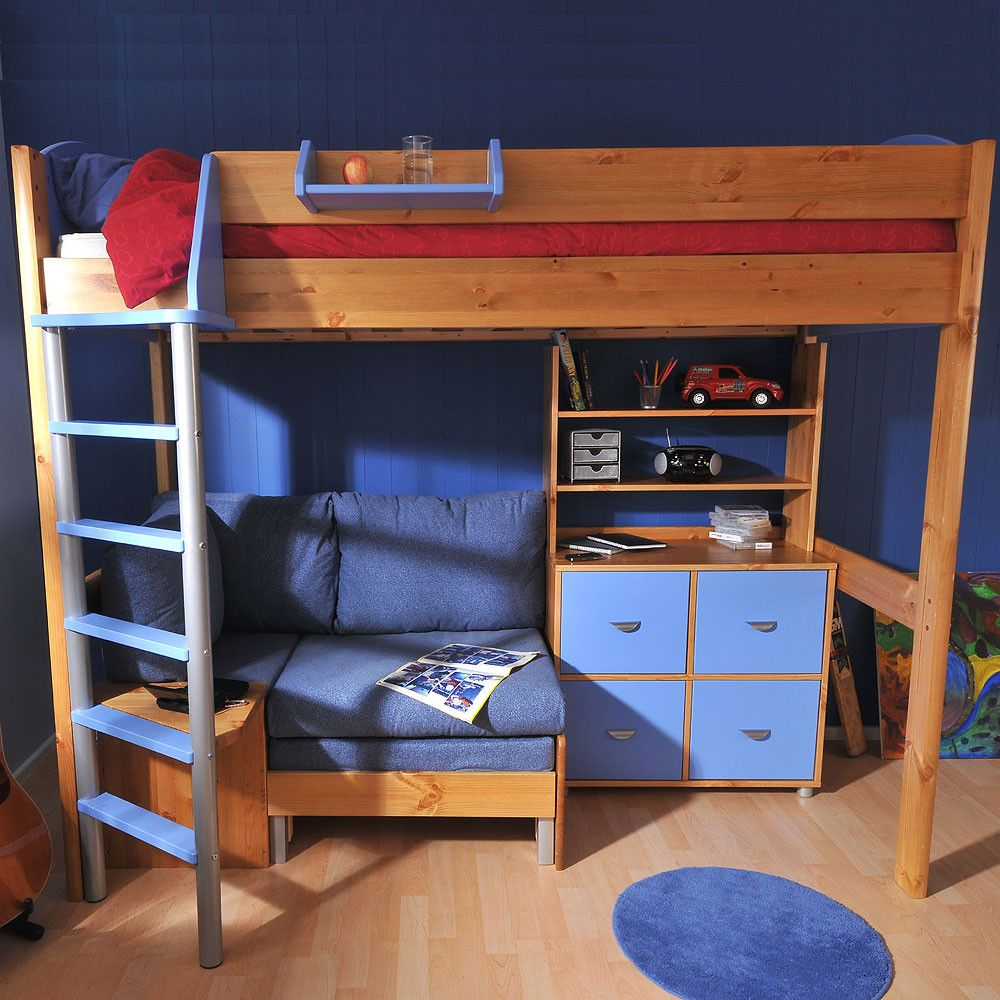 Loft bed with desk blue  The Stompa Next Generation Casa  loft bed offers a place to sleep