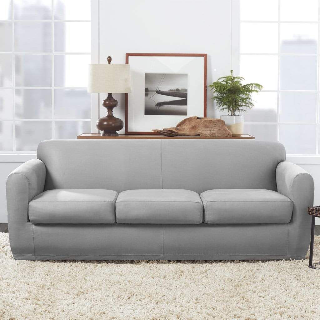 Ultimate Stretch Leather Four Piece Sofa Slipcover Form Fitting