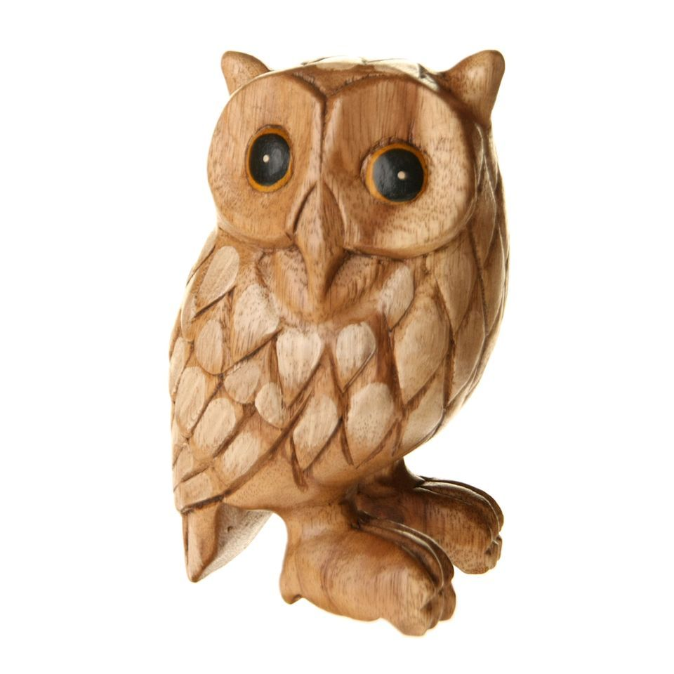Owl wood carving and wooden art carvings