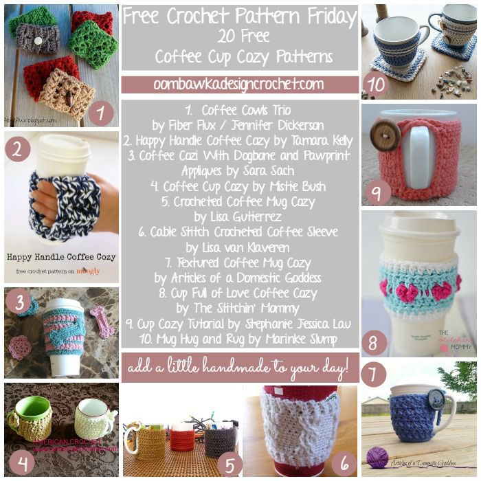 Coffee Cup Cozy Patterns Round Ups | **Crochet Round Ups | Pinterest ...