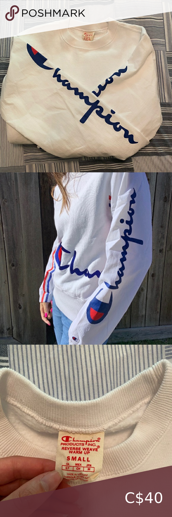 """Champion crewneck⚪️🔵🔴 Great condition crewneck with a small white logo on the left wrist and """"champion"""" down the sides and middle of the sweater ⚪️🔵🔴(originally $75)  #champion #championcrewneck #womenschampion Champion Sweaters Crew & Scoop Necks"""