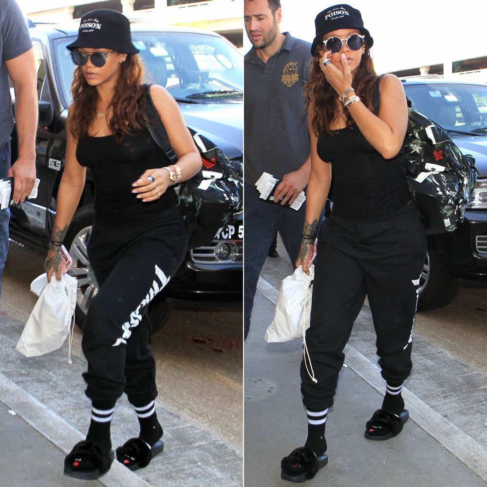 Black sandals rihanna - Rihanna In Silver Spoon Attire Poison Bucket Hat Sunday Somewhere Matahari Sunglasses Givenchy Airplane