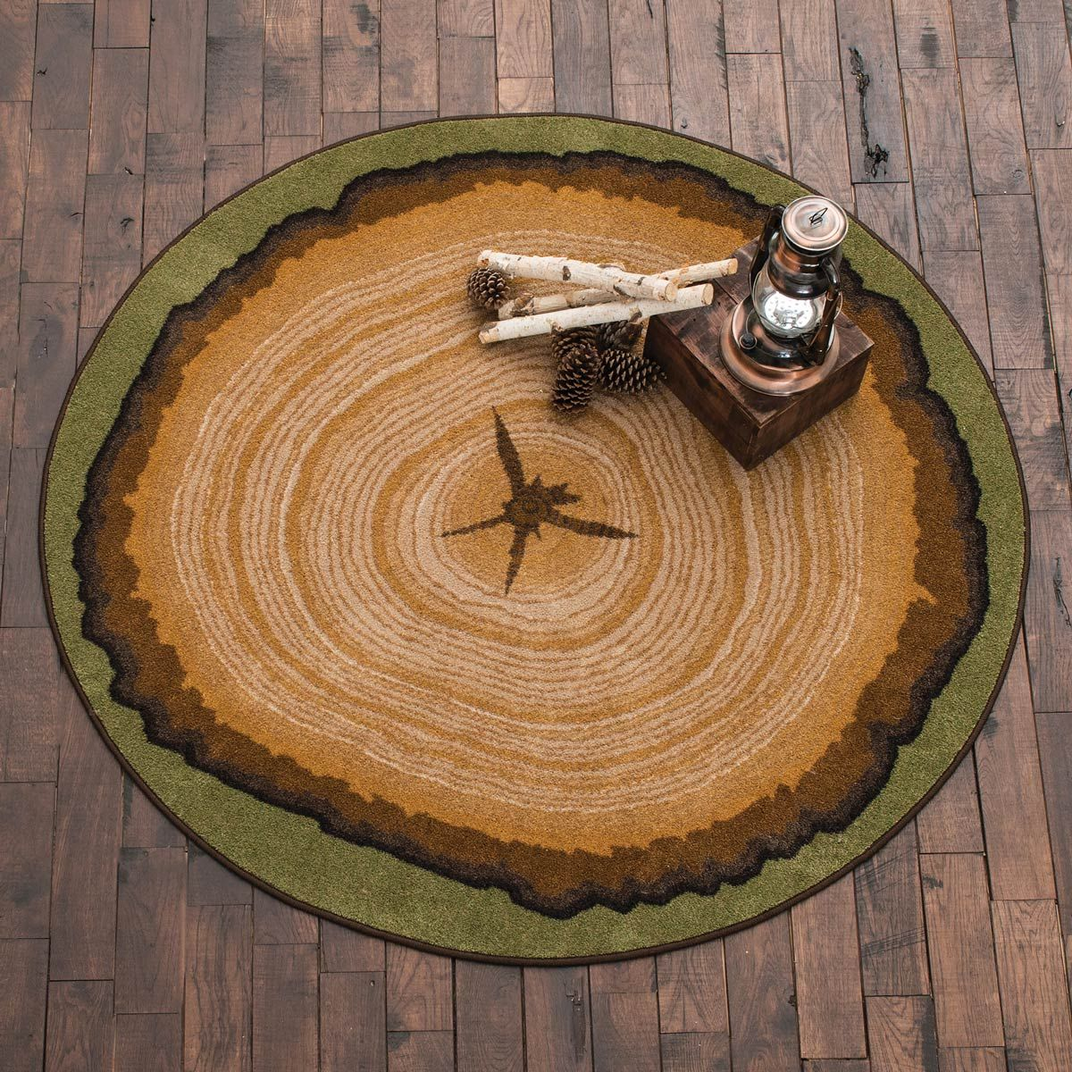 Tree Stump Round Rug Black Forest Decor Round Rugs Cabin Rugs