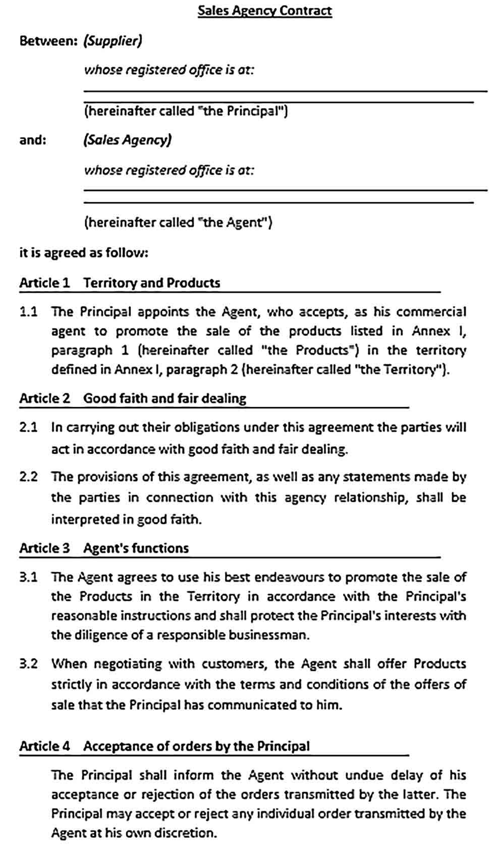 This commission agreement is for use where a provider of goods or services (theclient) wishes to engage another to introduce new customers to the client (in. Commission Agreement Template Sample Business Template Templates Rental Agreement Templates