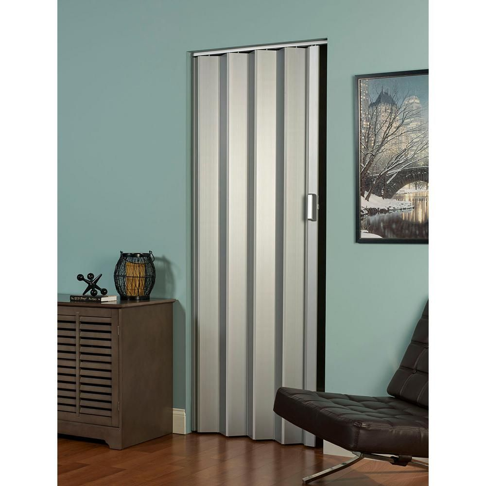 Spectrum 36 In X 80 In Elite Vinyl Satin Silver Accordion Door Doors