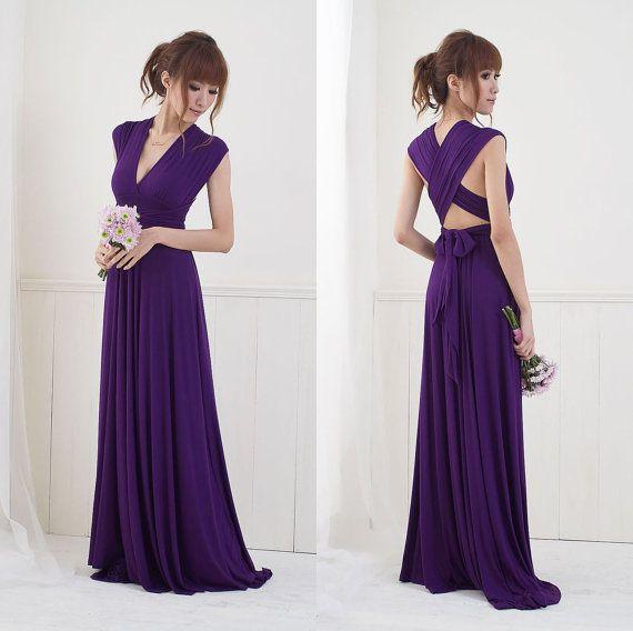 Convertible/Infinity Dress - Floor Length   Dark purple, Convertible ...