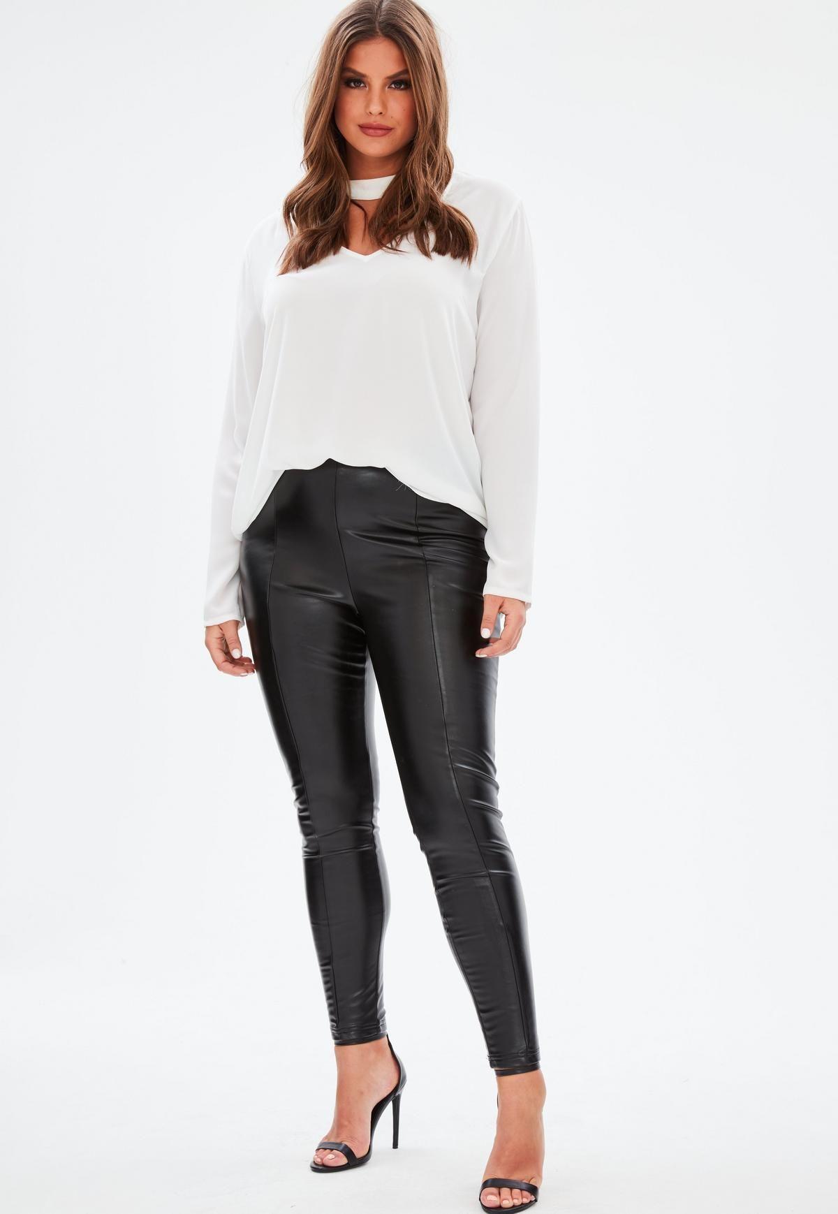 Curve Black Super Stretch Faux Leather Leggings   Missguided ...