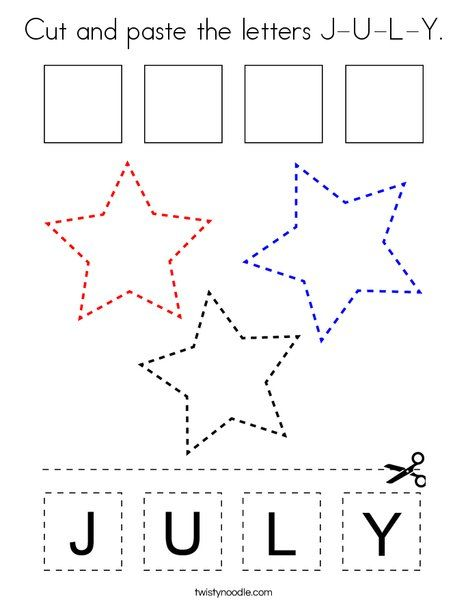 Photo of Cut and paste the letters J-U-L-Y Coloring Page