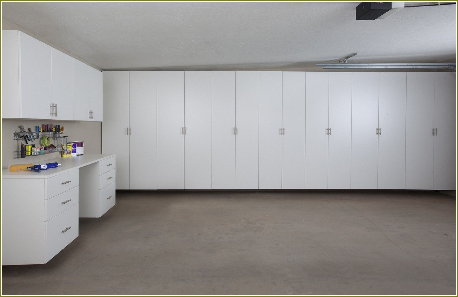 Image Of: White Garage Wall Cabinets