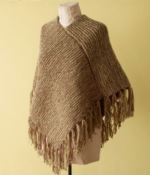Knitting Pattern For Easy Poncho : Loom Knit - Fringed Poncho done on Martha Stewart Loom - Intermediate project...
