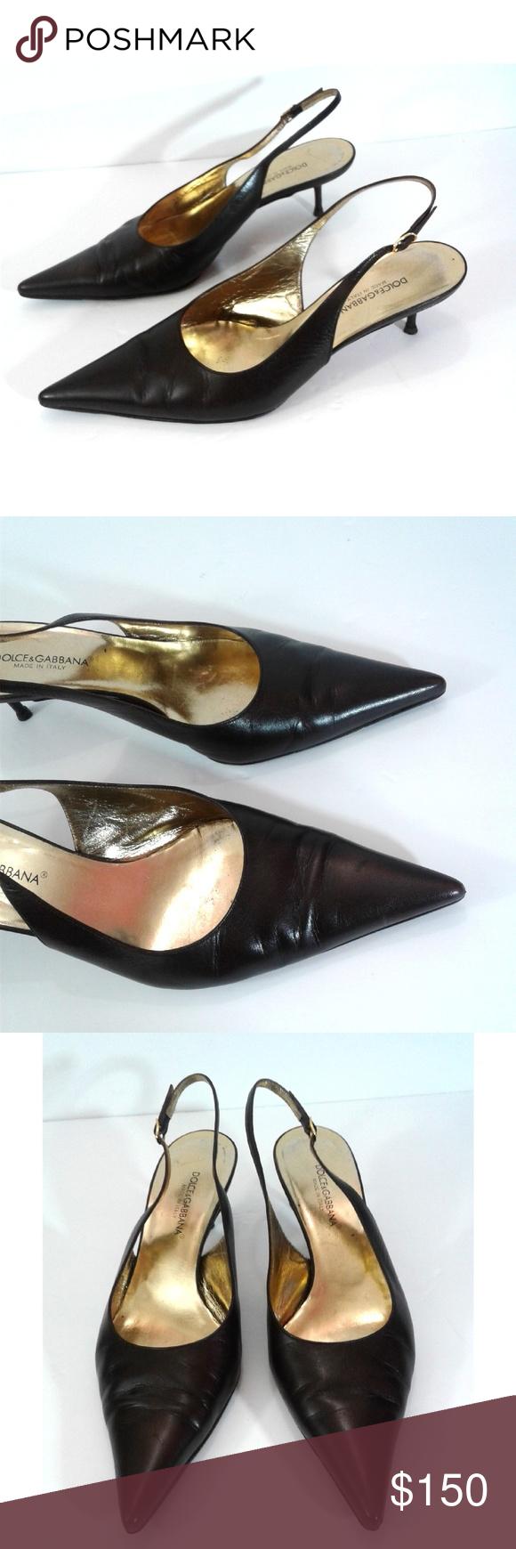 Dolce Gabbana Slingback Kitten Heel Leather 8 5 Dolce Gabbana Shoes Dolce And Gabbana Clothes Design