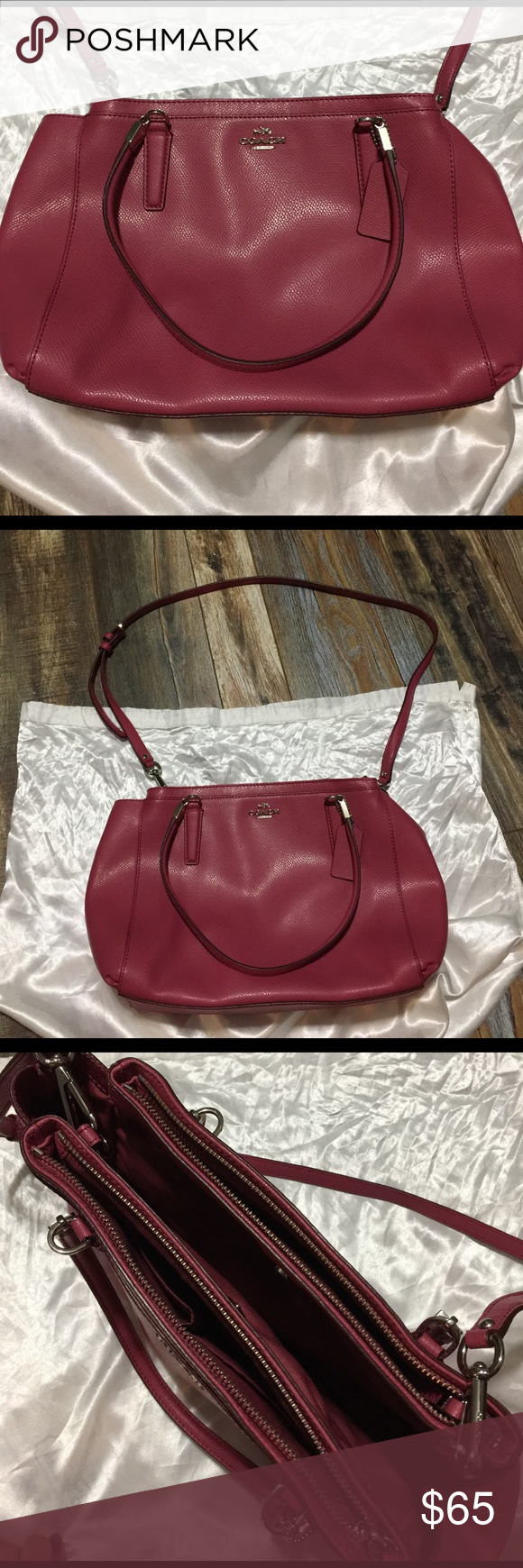 Coach pink/red satchel - optional crossbody strap Authentic coach satchel with optional crossbody strap. Coach Bags Satchels