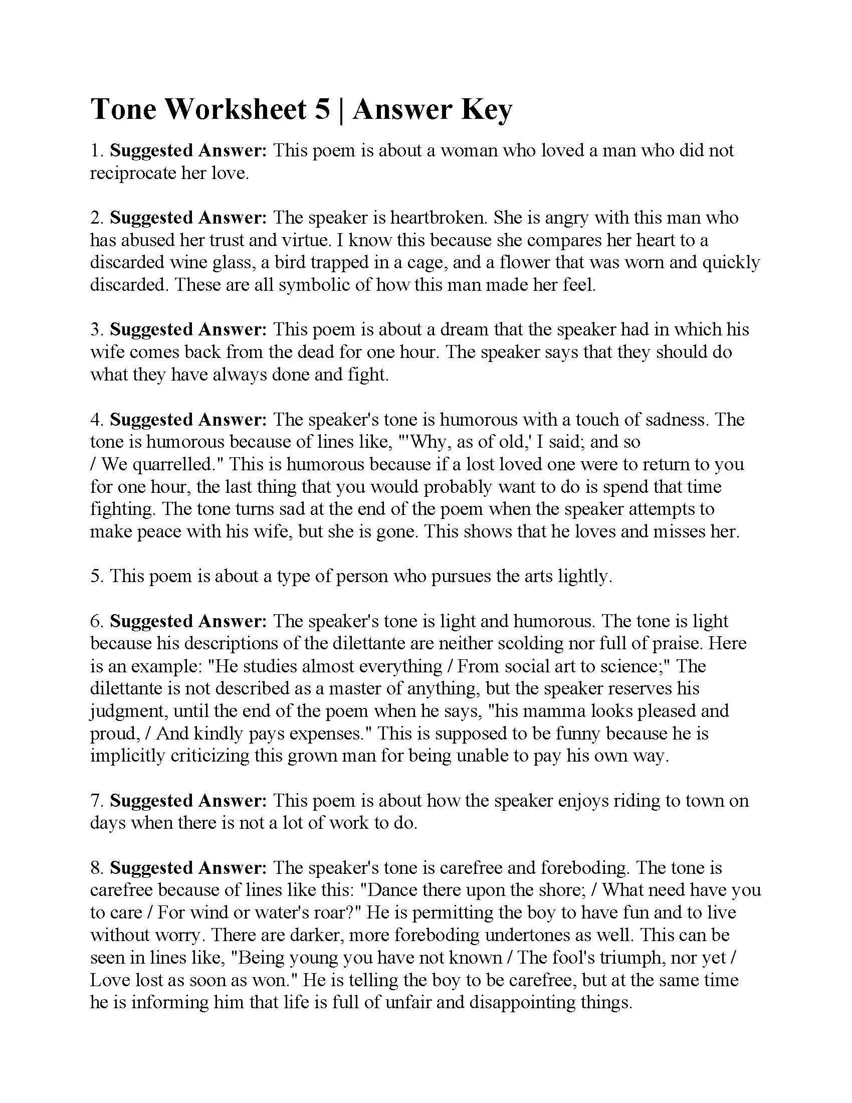 8th Grade Poetry Worksheets Tone Worksheet 5 In 2020 Poetry Worksheets Reading Worksheets Writing Worksheets Kindergarten