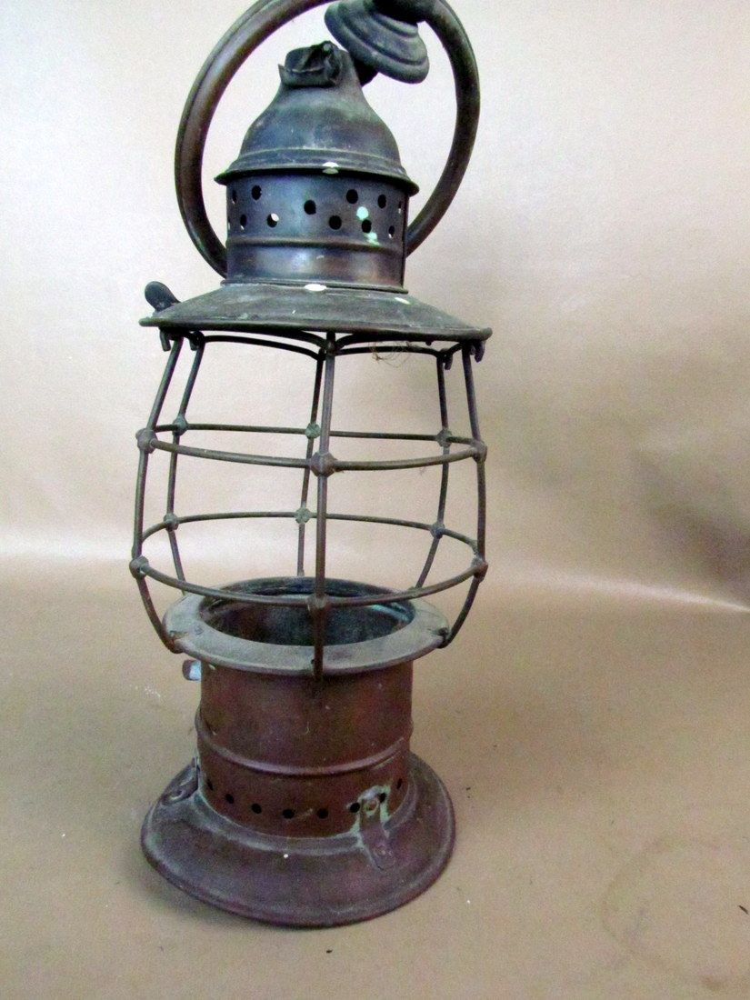 Antique 1800s Brass Fire Presentation Oil Lantern As Is Oil Lantern Old Lanterns Lanterns