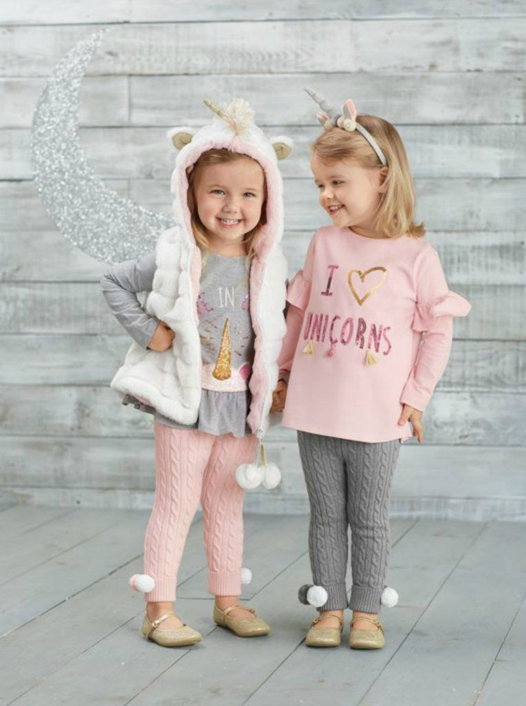 Mud Pie Baby Girls Unicorn Sequin Flutter Sleeve T-Shirt