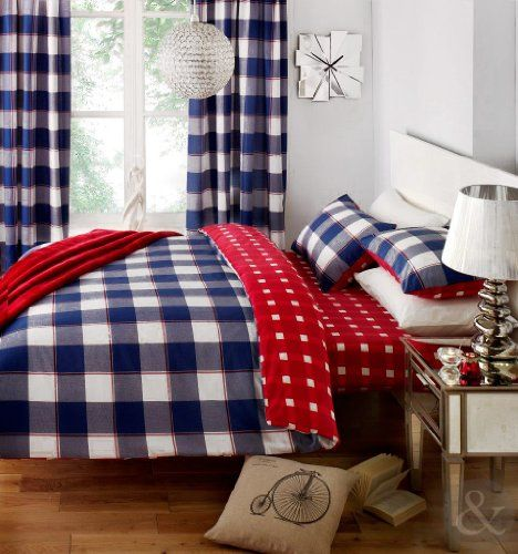 Gingham Check Duvet Cover Cotton Blend Reversible Bedding Quilt Cover Bed Set Navy Blue Red Claret White King Bed King Size Quilt Covers Reversible Bedding