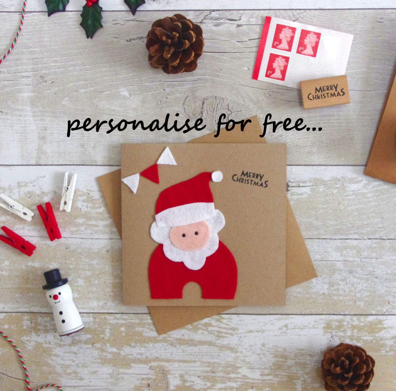 Felt Santa Card Kids Christmas Cards Cute Personalised Christmas
